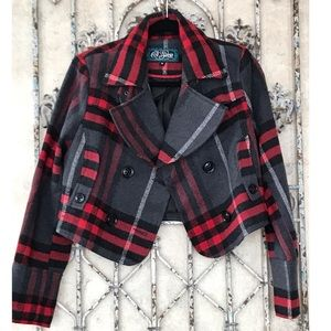 Ci Sono plaid cropped wool blend jacket.
